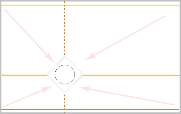 Схема установки маяков с трапом по диагонали