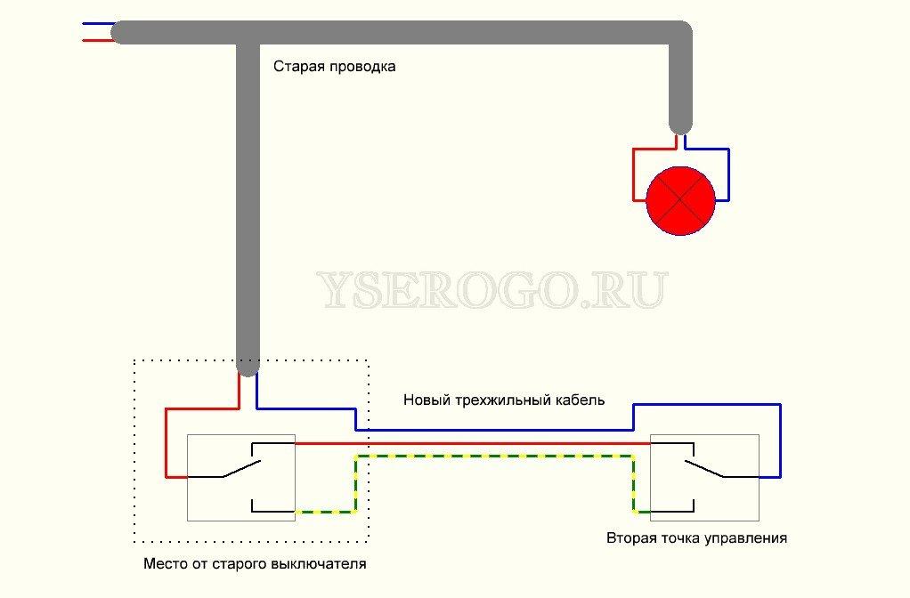 Схема переделки обычного выключателя в проходной на две точки
