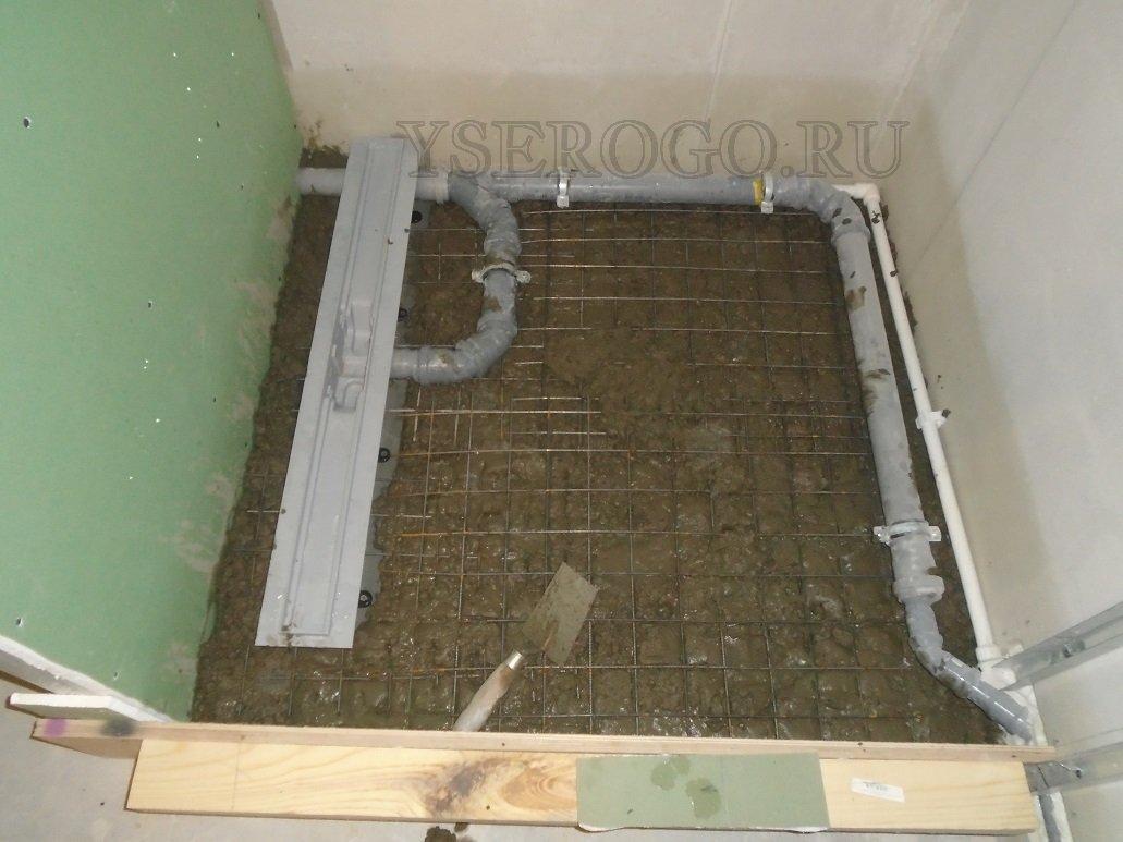 Армирование душевого поддона металлической сеткой