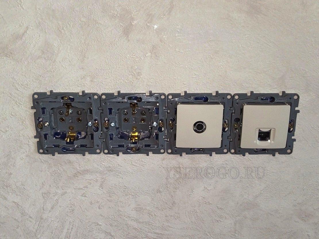 Розетка и выключатель в одной рамке без заземления установка