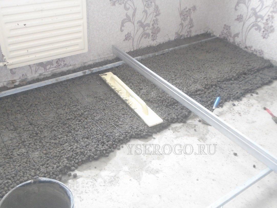 Заливание стяжки с керамзитом