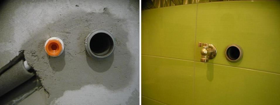 Вывод водопровода и канализации на стиральную манину